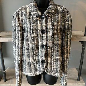 Lafayette 148 Wool Blend Tweed Plaid Jacket Blazer